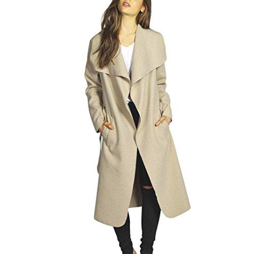 Koly _Cappotto del rivestimento delle donne Slim lungo Trench Outwear Cardigan (L, Cachi)