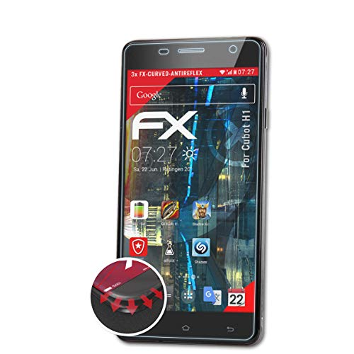 atFolix Schutzfolie passend für Cubot H1 Folie, entspiegelnde & Flexible FX Bildschirmschutzfolie (3X)
