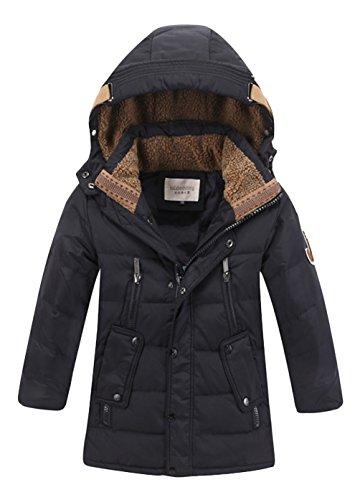Daunenjacke für Kinder kälteschutz lange Jacke mit abnehmbar Kapuze Schwarz in 140