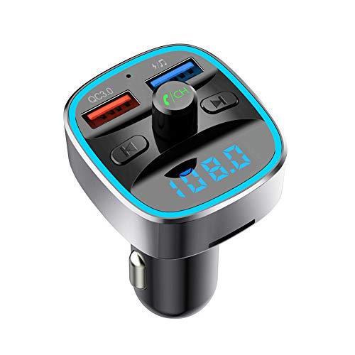 LHAIO Trasmettitore FM Bluetooth Supporta Ricarica Rapida QC3.0, Scheda SD, Riproduzione Disco U, Vivavoce Bluetooth, Rilevamento Tensione Batteria, Funzione di Memoria di Spegnimento Automatico