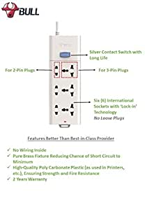 Bull 3+3 Socket,1 Switch,3 M Wire Extension Board,White