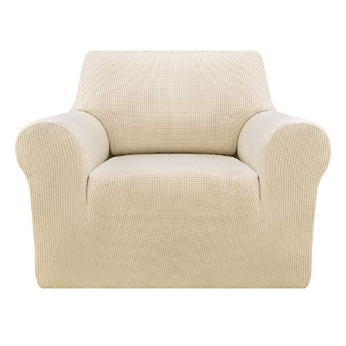 Deconovo Jacquard Sesselbezug Sofahusse überwurf Sessel Couch husse 80-120 cm Creme 1-sitzer