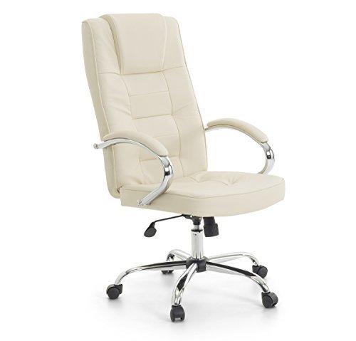 Leder Chefsessel Massagesessel'San Diego' Sessel mit Massage + Heizung Farbe beige/cremefarben /...