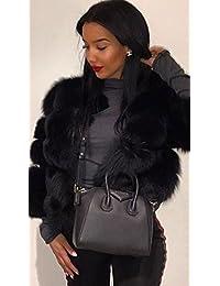 Simplee Apparel Damen Mantel Winter Elegant Warm Faux Fur Kunstfell Jacke  Kurz Mantel Coat 013026c647