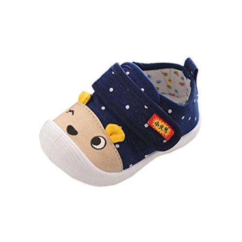 Chaussures our Bébés en Caoutchouc Chaussures de Toile de Bébé-Chaussures Premiers Pas 0-6, 6-12, 12-18, 18-24 Mois et 2.5-3, 3-3.5 Ans (Bleu foncé, 0-6 mois)