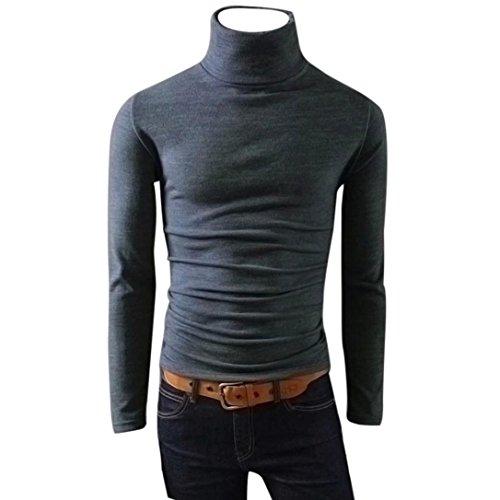VENMO Herren Pullover, Casual Standard Sweatshirts, Neu Mode Spring Langarmshirt T-Shirt Outwear Männer Langarmshirt Strickpullover Warme High Neck Shirts Baumwollmischung Bluse Top (Sexy Gray, L) (Pique Waschen Polo)