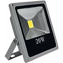 CristalRecord Proyector LED Extraplano para Exterior, 20 W, Gris, 19,5 x 18 x 4,5 cm