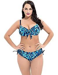 b6817b5e255c5f H&Y Damen Badeanzug, Large Größe einteiliger Badeanzug mit Streifen Stahl  Unterstützung und Brustpolster, 1