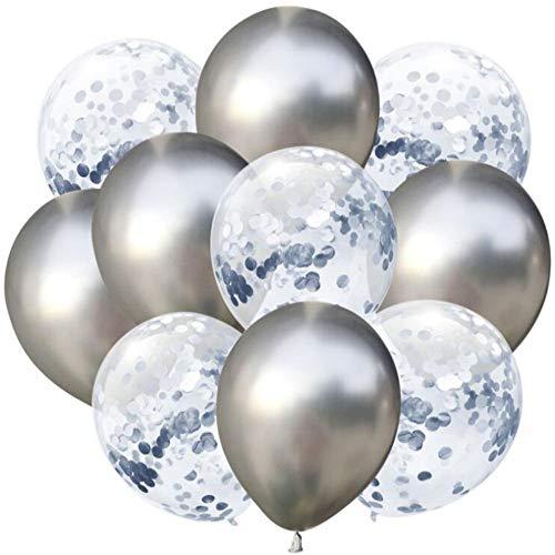 Oblique Unique® Konfetti Luftballon Set für Geburtstag Feier Jubiläum Hochzeit Silberhochzeit JGA Party Deko Ballons Luftballons - Silber