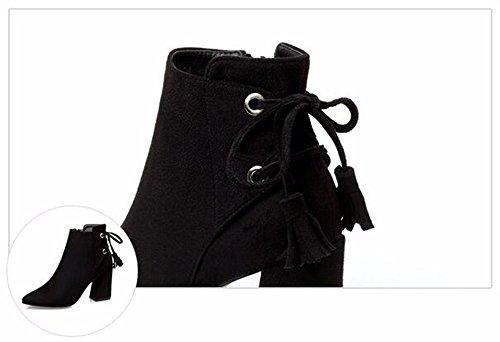 FLYRCX Sexy europea prua bendaggio stivali in pelle scamosciata spessa lady caldo tacchi Sexy party scarpe dimensione europea: 34-39 A