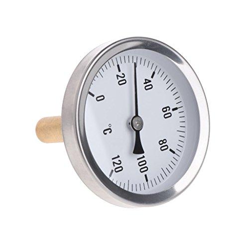 Jenor 63 mm Zifferblatt Horizontal Thermometer Monitor Panel Meter Aluminium Temperaturmessgerät Flüssigwasser