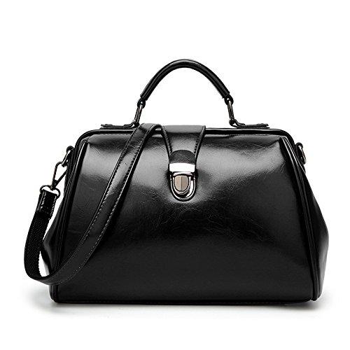 Hope Frauen Öl Wachs Leder Handtasche Portable Schulter Umhängetasche Retro Arzt Tasche Top Griff Satchel Totes,Black-30*17*19cm