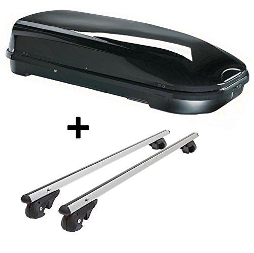 Skibox VDPFL580 580Ltr schwarz glänzend + Alu Relingträger, gebraucht gebraucht kaufen  Wird an jeden Ort in Deutschland