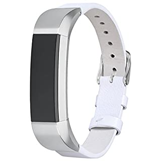 SnowCinda For Fitbit Alta Strap Leather Alta HR Band, Adjustable Accessory Replacement Bracelet Sport Straps for Fitbit Alta and Alta HR Unisex Fitness Wristband (White 1)