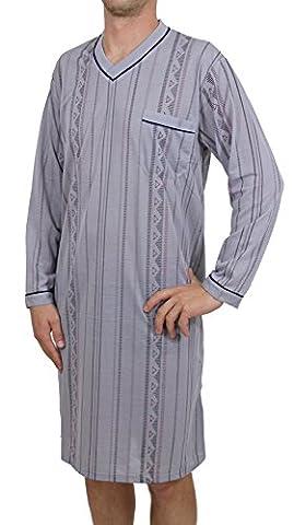 Herren Nachthemd Schlafanzug Pyjama langarm mit Brusttasche (L, grau)