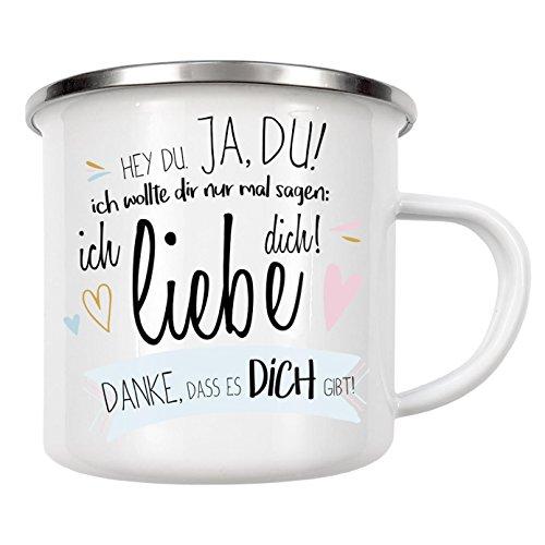 """artboxONE Emaille Tasse """"Hey Du!"""" von artboxONE Edition - Emaille Becher Liebe"""