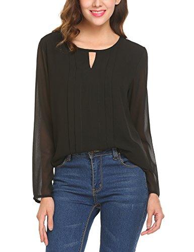 Parabler Damen Bluse Chiffon T-Shirt Sommer Loose Oberteil Shirt Falten Tunika (XXL, Schwarz)