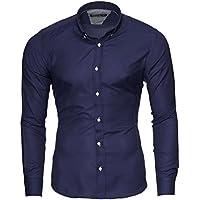 Merish Camicia Uomo, Slim Fit Camicia manica lunga, premuto il pulsante oxford, adatto per tutte le occasioni,casual e chic, diversi Colori Taglia S - XXL Modell 205