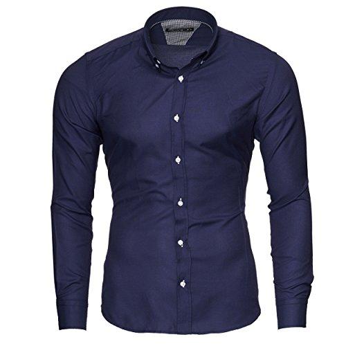 Merish Hemd Herren Langarmhemd Oxford Button-Down Klassisch Modell 205 Dunkelblau S (Oxford-oxford-hemd Klassisches)
