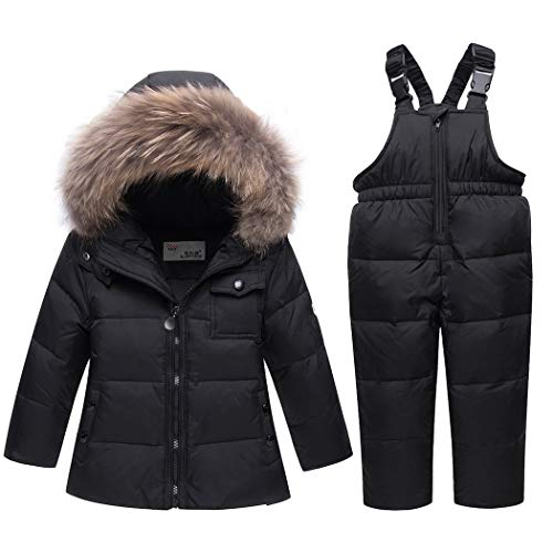 Premewish Unisex Baby Schneeanzug Set,2 tlg Daunenjacke und Schneelatzhose,Kapuze mit Abnehmbaren Plüschbesatz - 6001 (110, Schwarz)