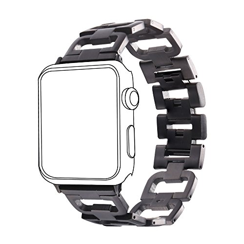 Stainless Steel Band for Apple Watch, Bandmax 42MM Fashion D Type Replacement Wrist Strap for iWatch Series 1/2 42MM All Models (Black)