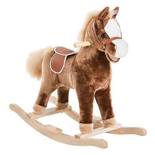 Cheval à Bascule Cheval de Cowboy Selle Grand Confort Peluche Courte Douce Bois peuplier Brun Blanc
