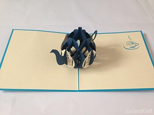 ea Wein Glas handgefertigt 3D Laser Cut Pop Up krigami Grußkarten Väter Muttertag Hochzeit Party 18, 21,3040, 50,60Geburtstag ()