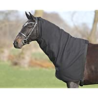 QHP Halsteil Fleece mit Klettverschlüssen + Gurt mit Schnappverschluss schwarz (M)