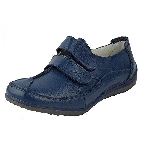 Kick Footwear - Donna Ladies in pelle fissare facile chiusura soft walking touch cinturino scarpe Marina