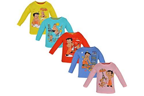 Luke and Lilly Chhota Bheem Baby Boy Round Neck Cotton TShirt Pack of 5 (LNLCHFLSL002_6-12_Multicolour_6 - 12 Months)
