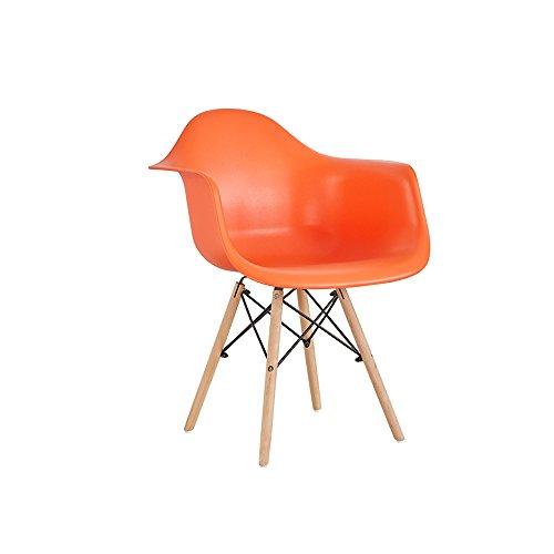XUERUI Le Produit Comprend Deux Chaises Plastique + Bois + Métal 49 CM * 43 CM * 83 CM Couleur Multiple Meubles Cuisine Maison (Couleur : Orange)