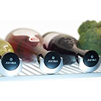 Wine Stoppers - Leak-Proof Wine Saver, Locking Bottle Cap Allows Safe Sideways Storage With Snap On Preserver Cork - Wine Accessories Gift Set of 3 by AVINA Wine Accessories