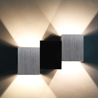 Yorbay® LED Wandleuchte up down 2W innen Wandlampen Warmweiß Design Flurlampe Aluminum Schwarz Silber+Trafo/Stromversorgung