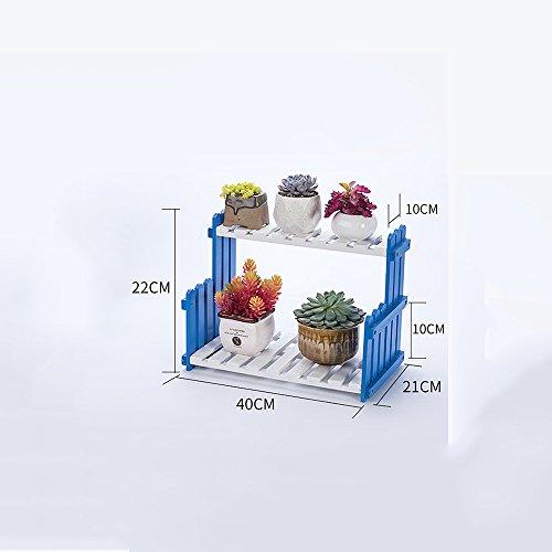 Stands extérieure Herb Plante Fleur Salon Balcon Plancher Multi-étage Fleur Rack Racks en bois massif Étagères intérieures simples (couleur, taille en option) Utilisation intérieure et extérieure Style vintage ( Couleur : Bleu , taille : 40 cm )