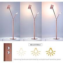 Finether Lampada da Terra LED, Lampada a Piantana in Metallo di Lusso, Oro (33W, 3-Livello Dimmer, Touch Control, Pieghevole, Eye-Care Technology)
