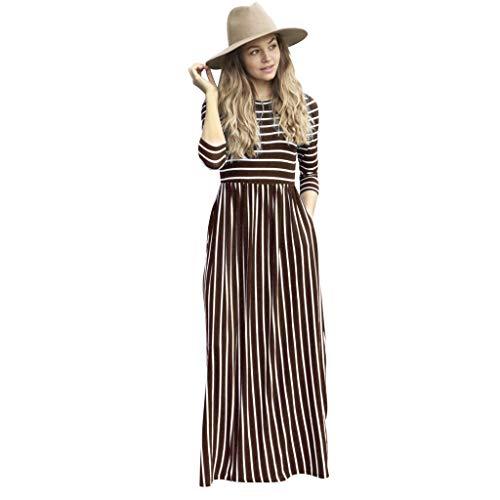 XZDCDJ Mode Frauen Langarm gestreift gedruckt Beiläufig Taschen Lange Maxi Dress(XL,Coffee) - Langarm-gestreiften Uniform