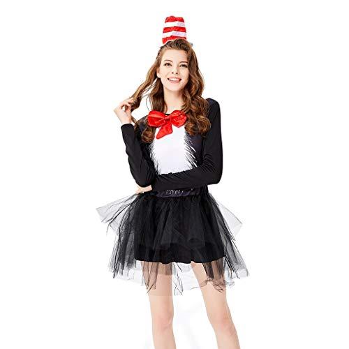 Auiyut Cosplay Kostüm Damen Club Kostüm Schwarze Katze Cosplay Kleid Tutu Garn Kleid Kostüm Frauen Zauberer Minikleid Kellnerin Kostüm - Schwarze Katze Tutu Kostüm