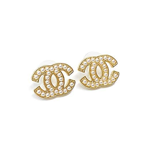 Silber getönten Ohrstecker für Frauen Artikelnummer - (1543-CC-43) (Pearl Gold)