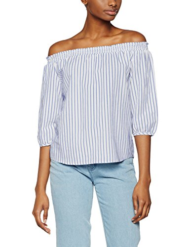 41ZkcasaioL - ONLY Damen Bluse Onliris LS Off Shoulder Stripe Top Qyt, Mehrfarbig (White Stripes:Blue), 40