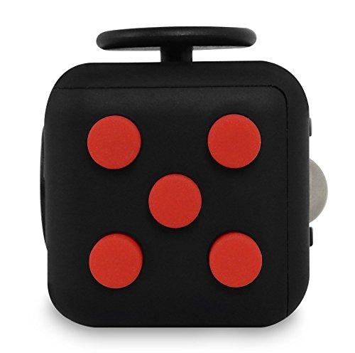 #Stresswürfel Cube – Spielzeug gegen Stress wie Fidget Cube – Anti Stress Würfel, Langeweile bekämpfen, Super Gagdet (Schwarz-Rot)#