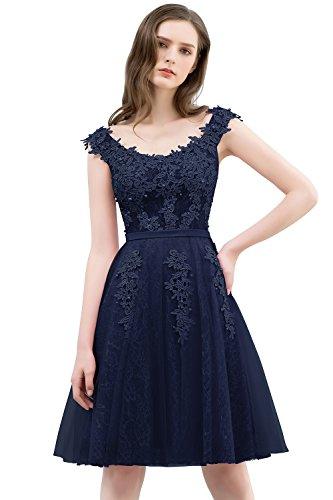 Misshow Partykleid Mini Rückenfrei Abendkleid Elegant Tüll Festlich Jugendweihe Kleid