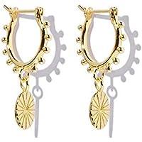 Brandlinger ® Atelier Ohrringe mit Coin Anhänger aus vergoldetem 925 Sterling Silber für Frauen und Mädchen. Durchmesser…