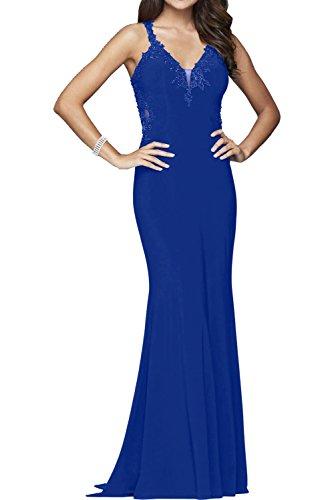 Victory Bridal Dunkel Blau Langes Chiffon Spitze Abendkleider Partykleider Promkleider Brautmutterkleider Royal Blau