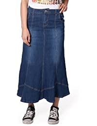 JUST ONE Falda Vaquera Larga Mujers Denim Falda de Mezclilla Jean SKIRT88 048133470541