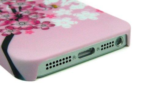 Kit Me Out FR Coque à clipser plastique pour Apple iPhone SE / 5S - multicolores fleurs orientales arbre en fleurs rose