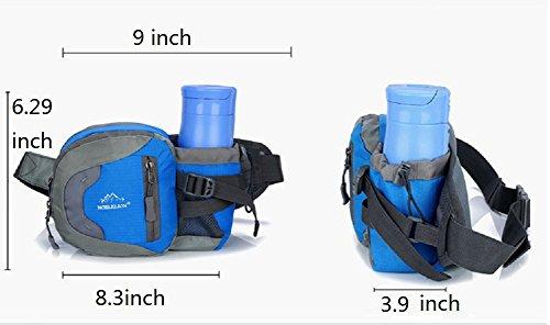 Unisex Läufer Tasche Hüfttasche Gürteltasche Schulranzen Tasche mit Flaschenhalter für Sport im Freien,Radfahren,Wandern,Camping Schwarz