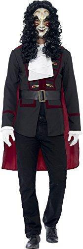 Smiffy's 43744m - veneziana highwayman costume nero con il rivestimento del capo & collar, m