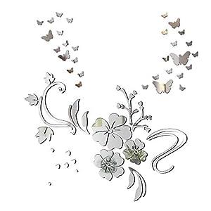 3D Schmetterling Wandaufkleber Spiegel Effekt Aufkleber Blumen Wandsticker Wandtattoo Wanddeko TV Hintergrund Deko für…