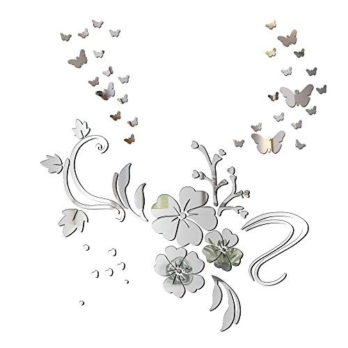 3D Schmetterling Wandaufkleber Spiegel Effekt Aufkleber Blumen Wandsticker Wandtattoo Wanddeko TV Hintergrund Deko für Wohnzimmer Kinderzimmer Türen Fenster Badezimmer Kühlschrank (blumen stil A)