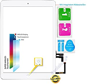 O.E.M.? Komplett Touchscreen Glas Digitizer für iPad Air / iPad 5 Display, Komplett mit Flexkabel, Homebutton - Weiß inkl. 3-teiliges Reinigungsset - WEIß WHITE - NEU